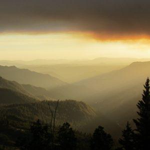 mountains under sunset
